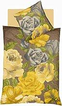 fleuresse: Bettwäsche mit ausdrucksstarken Rosen, gelb, 155x220
