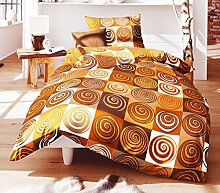 Fleuresse Mako Satin Bettwäsche 2 tlg. 135x200cm Spiralen Braun Terra 112458/8