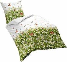 fleuresse Mako Satin Bettwäsche, weiß/grün, 135 x 200 cm