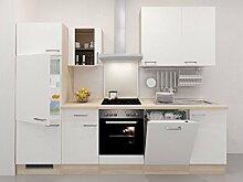 Flex-Well Küchenzeile Weiß 280 cm mit Geschirrspüler und Glashängeschrank - Ancona