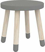 Flexa Kinderhocker PLAY mit Beinen aus Eschenholz in grau (30cm)
