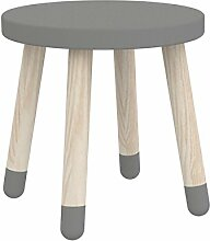 Flexa Kinderhocker PLAY mit Beinen aus Eschenholz in grau (30cm), Holzstuhl für das Kinderzimmer zum Spielen und Basteln ohne Ecken und Kanten, aus FSC-zertifiziertem Holz