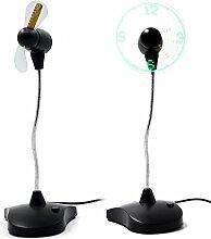 Flexiblem Hals Portable USB Ventilator mit LED-Uhr Display Büro Schreibtisch Tisch Elektrische Uhr Lüfter mit Ständer Schwarz