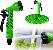 Flexibler Gartenschlauch Grün, 22,5m ausgedehnt,