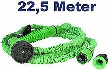 Flexibler Gartenschlauch Zauberschlauch Flexischlauch zur Bewässerung mit Sprühkopf Brause mit 7 Funktionen, 1/2 3/4 Zoll Gewinde, 22,5 Meter