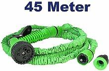 Flexibler Gartenschlauch Zauberschlauch Flexischlauch zur Bewässerung mit Sprühkopf Brause mit 7 Funktionen, 1/2 3/4 Zoll Gewinde, 45 Meter