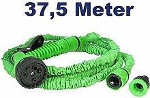 Flexibler Gartenschlauch Zauberschlauch Flexischlauch zur Bewässerung mit Sprühkopf Brause mit 7 Funktionen, 1/2 3/4 Zoll Gewinde, 37,5 Meter