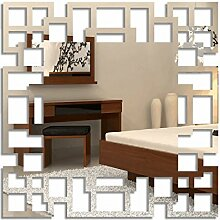 FLEXISTYLE Dekorativer Spiegel labirynt, Modernes Design Dekoration, 3mm Acryl-Spiegel aus der EU, Wohnzimmer, Schlafzimmer, Flur, unzerbrechlich, DIY-Heimtextilien, Silber, Hergestellt in der EU