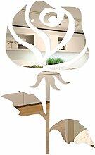 FLEXISTYLE Dekorativer Spiegel Rose 2, Modernes Design Dekoration, 3mm Acryl-Spiegel aus der EU, Wohnzimmer, Schlafzimmer, Flur, unzerbrechlich, DIY-Heimtextilien, Silber, Hergestellt in der EU