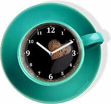 FLEXISTYLE Moderne Küchen Wanduhr Tasse Perfetta,