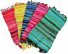 Flickenteppich 70x140cm verschiedene Farben Baumwolle Fleckerlteppich, Farbe:gelb