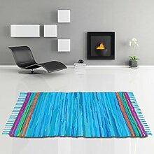 Flickenteppich handgewebter Teppich aus Baumwolle, stylischer und strapazierfähiger Fleckerlteppich in vielen verschiedenen modischen Ausführungen erhältlich (120 x 180cm / blau - dunkelblau)