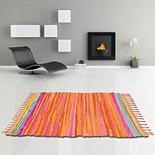 Flickenteppich handgewebter Teppich aus Baumwolle, stylischer und strapazierfähiger Fleckerlteppich in vielen verschiedenen modischen Ausführungen erhältlich (120 x 180cm / orange - coral)