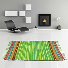 Flickenteppich handgewebter Teppich aus Baumwolle, stylischer und strapazierfähiger Fleckerlteppich in vielen verschiedenen modischen Ausführungen erhältlich (70 x 130cm / hellgrün - limettengrün)