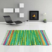Flickenteppich handgewebter Teppich aus Baumwolle, stylischer und strapazierfähiger Fleckerlteppich in vielen verschiedenen modischen Ausführungen erhältlich (140 x 200cm / grün - dunkelgrün)