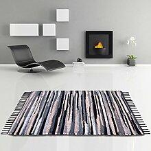 Flickenteppich handgewebter Teppich aus Baumwolle, stylischer und strapazierfähiger Fleckerlteppich in vielen verschiedenen modischen Ausführungen erhältlich (60 x 90cm / anthrazit - beige - schwarz)