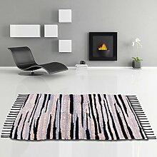 Flickenteppich handgewebter Teppich aus Baumwolle, stylischer und strapazierfähiger Fleckerlteppich in vielen verschiedenen modischen Ausführungen erhältlich (70 x 130cm / beige - schwarz - grau)