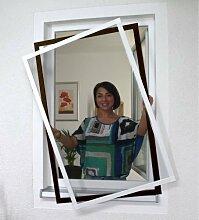 Fliegengitter Fenster 100 x 100 cm in weiß oder braun Fliegengitter für Fenster -- Montage Ohne zu bohren -- (weiß)