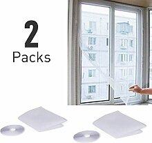 Fliegengitter Fenster-Bildschirm, Elebor 2 Packs 1.3m x 1.5m Fenster Insekt Screen Netting Mesh mit Roll Selbstklebendes Tape White