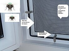 Fliegengitter- Insektenschutz- Alu- WEISS optimal für Rolläden- Insektenschutzgitterfarbe GRAU (100cm x 150cm, + 22mm Einhänhewinkel)