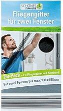 Fliegengitter Insektenschutz für Türen Moskito Moskitonetz Fliegenvorhang (Fliegengitter für zwei Fenster Schwarz)