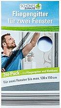 Fliegengitter Insektenschutz für Türen Moskito Moskitonetz Fliegenvorhang (Fliegengitter für zwei Fenster Weiss)