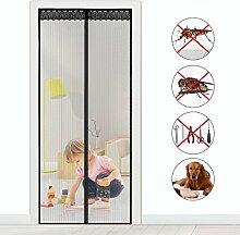 Fliegengitter Magnet Insektenschutz Fliegen Vorhang für Balkontür Wohnzimmer Klettband Fassung Schwarz Moskitonetzes für Terrassentür (110x220cm)