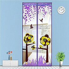 Fliegengitter Magnetvorhang Insektenschutz für Balkontür Schiebetür Terrassentür 90 x 210cm (Lila)