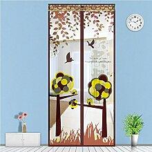 Fliegengitter Magnetvorhang Insektenschutz für Balkontür Schiebetür Terrassentür 90 x 210cm (Braun)