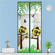 Fliegengitter Magnetvorhang Insektenschutz für Balkontür Schiebetür Terrassentür 90 x 210cm (Grün)