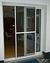 Fliegengitter Schiebetür Insektenschutz Tür zum schieben Alu Rahmen weiß / braun 120 x 240 cm (braun)