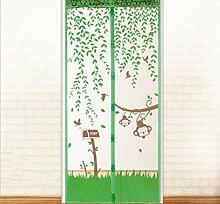 Fliegengitter Tür Affe Stil Insektenschutzgitter Türvorhang Magnet Fliegenvorhang 90 x 210CM/110 x 220CM -Klebmontage ohne Bohren - Magnetvorhang für Balkontür Wohnzimmer Schiebetür Terrassentür (90x210 cm, Grün)
