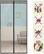 Fliegengitter Tür Insektenschutz Magnet Fliegenvorhang 12 Größe verfügbar Passend Türen bis zu 90cm X 210cm Vorhang Schiebetür Terrassentür(Black)
