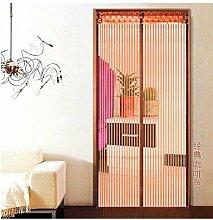 Fliegengitter Tür Insektenschutz Magnet Fliegenvorhang 12 Größe verfügbar Passend Türen bis zu 80cm X 210cm Vorhang Schiebetür Terrassentür(braun)