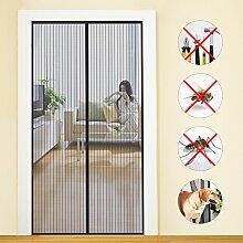 Fliegengitter Tür Insektenschutz Magnet Fliegenvorhang 90*210 | 110*220 - Klebmontage ohne Bohren - Vorhang für Balkontür Wohnzimmer Schiebetür Terrassentür