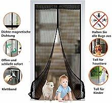 Fliegengitter Tür Insektenschutz Magnet Fliegenvorhang 90*210 / 100*220 für Balkontür, Kellertür, Terrassentür Klebmontage ohne Bohren (90*210cm)