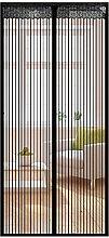 Fliegengitter Tür Insektenschutz Magnet Fliegenvorhang 90 x 210CM/110 x 220CM -Klebmontage ohne Bohren - Magnetvorhang für Balkontür Wohnzimmer Schiebetür Terrassentür (90X210CM, Schwarz)
