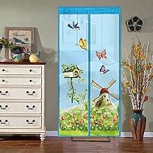 Fliegengitter Tür Insektenschutz Magnetischer Fliegenvorhang für Balkontür Wohnzimmer Terrassentür 100*210cm Blau/Grün/Rosa/Lila (Blau)