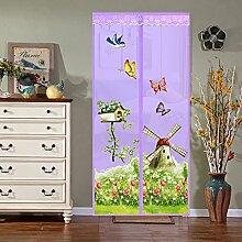 Fliegengitter Tür Insektenschutz Magnetischer Fliegenvorhang für Balkontür Wohnzimmer Terrassentür 100*210cm Blau/Grün/Rosa/Lila (Lila)