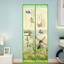 Fliegengitter Tür Insektenschutz Magnetischer Fliegenvorhang für Balkontür Wohnzimmer Terrassentür 100*210cm Blau/Grün/Rosa/Lila (Grün)