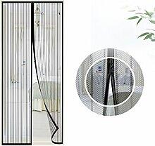 Fliegengitter Tür Insektenschutz, Samione Moskitonetz Tür Magnet Insektenschut, Kinderleichte Klebemontage Ganz Ohne Bohren,90 x 210cm (Schwarz)