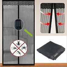 Fliegengitter Tür Moskitonetz Tür 100x210CM Insektenschutz Magnet Vorhang Fliegenvorhang für Balkontür Schiebetür Wohnzimmer Terrassentür, Schwarz