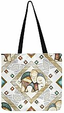 Fliese Indian Canvas Tote Handtasche