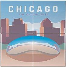 Fliese Kachel Fernweh Stadt Chicago USA Keramik