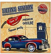 Fliese Kachel Oldtimer Auto Tankstelle Keramik