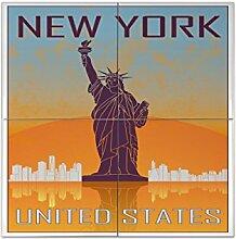 Fliese Kachel Reisen Küche New York Keramik
