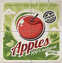 Fliese Kachel Retro Äpfel Keramik bedruckt 15x15