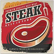 Fliese Kachel Retro Steak Keramik bedruckt 15x15 cm