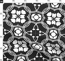 Fliese, Schwarz Und Weiß, Blumen, Modern,