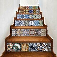 Fliesen-Aufkleber, Fliesenaufkleber für Bad u Küche Deko-Dekorsticker selbstklebend Traditionelle Mosaikfliesen PVC Fliesensticker (Retro-Stil)